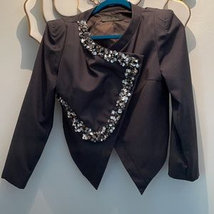 Spicy & Sleek - sequined cropped navy blazer with shoulder detail